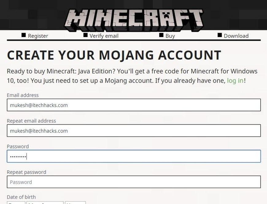 minecraft windows 10 free code